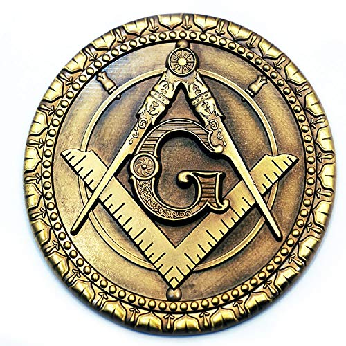 Square & Compass Round Masonic Auto Emblem - [Antique Brass][3'' Diameter]