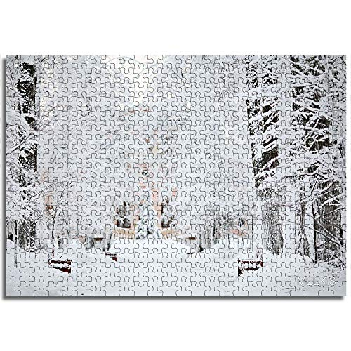 LLLTONG Puzzles für Erwachsene 1000 Stück Immergrüne Kiefer nach starkem Schneefall Lernspiele, Puzzle für Kinder