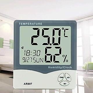 デジタル湿度計温度計温度計湿度温度計テスターウェザーステーション家庭用、オフィス用、温室用のカレンダーと時計アラーム