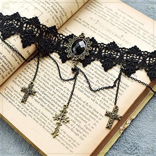 Punk-Halskette, Punk-Dampf-Halskette Harajuku New Classic Dark Lolita Teenage Girl Cross Halskette Goth Halskette Schmuck