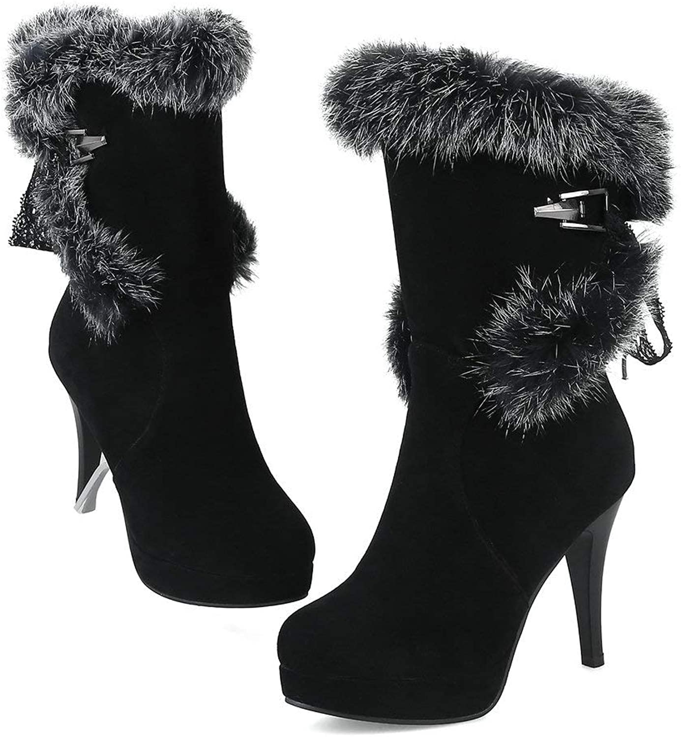 AnMengXinLing Mid Calf Snow Boots Women Sexy Stiletto High Heel Platform Faux Suede Fluffy Fur Round Toe Lace up Winter shoes