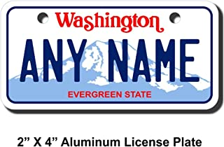 TEAMLOGO Personalized Washington License Plate - Sizes for Kid's Bikes, Cars, Trucks, Cart, Key Rings Version 1