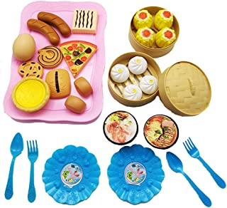 Play Food, 34 Pieces Plastic Kids Play Food, Colorful Fruits And Vegetables Pretend Play Food for Pretend Role Playing Chr...