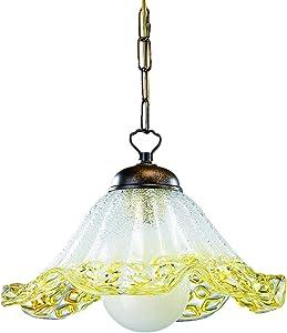 ONLI - Lampadario/Lampada a sospensione Fazzoletto cin catena in metallo e paralume a campana in vetro trasparente decorato oro. Stile classico, tradizionale. Ø 30cm