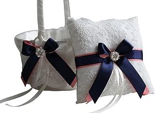Wedding Flower Girl Basket & Ring Bearer Pillow Set by Alex Emotions (Coral Navy)
