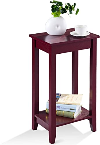 wholesale Giantex Tall Side End Table online sale W/Shelf Telephone Table Coffee Bedside Sofa Table for online Living Room Bedroom, Espresso Nightstand (1) outlet sale
