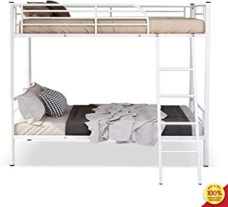 Hooseng Easy Assembly Metal Bunk, Save Space Heavy Duty Twin Bed Frame with Movable Ladder and Safety Guard Rails for Kids, White