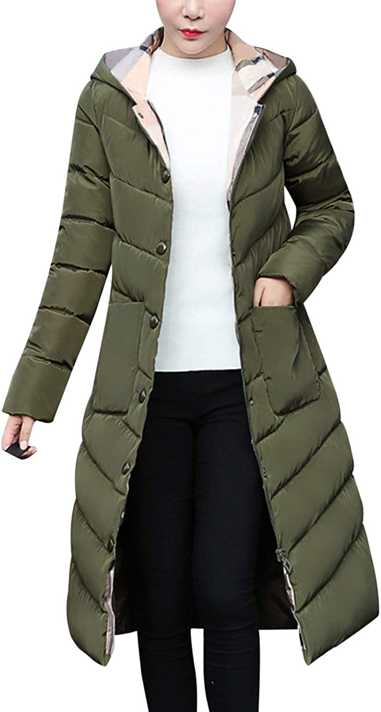 Tanming Women's Winter Slim Warm Cotton Padded Long Hooded Jacket Coat Outerwear