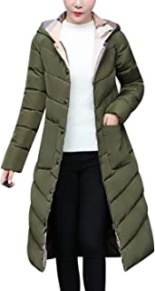 Tanming Women's Winter Slim Warm Cotton Padded Long Hooded Jacket Coat Outerwear