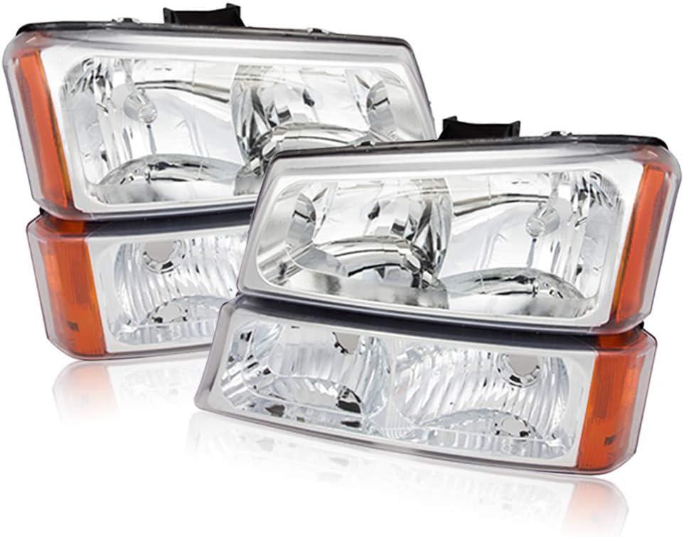 Baltimore Mall For Max 89% OFF 03-06 Chevy Silverado Crystal Pair Chrome Headlights Headlam