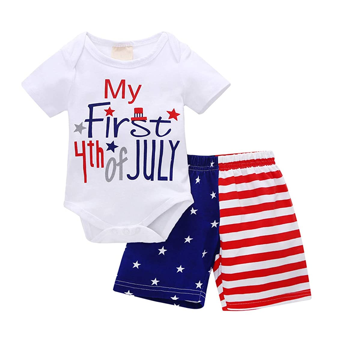 4th?of?July?Baby?Boy Outfit, My First 4th of July Romper USA Flag Shorts, Toddler Patriotic Infant Clothes Set