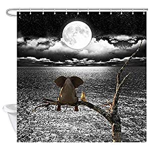 JAWO Funny Animal Shower Curtain, Cute Elephant Sitting on Tree Branch Look Moon Black and White Ocean Sea Art Bathroom Curtains, 69x70 Inches