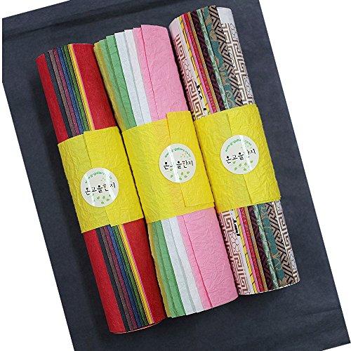 HanJi traditionelles Maulbeer-Papier, koreanisch, 20,1 x 29 cm, gefärbt, faltengemustert, traditionelles Design, 32 Stück