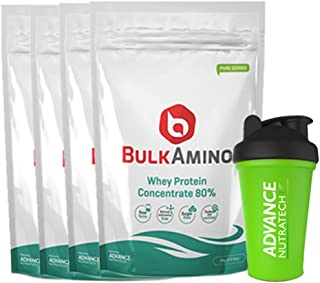 Advance Nutratech Bulkamino Whey Protein Concentrate 80 % Raw Protein 4 Kg (Free Shaker) (8.8 Lbs)[4X 1Kg] Supplement Powder(Pack Of 4)
