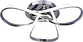 AUROLITE Contemporary LED Chrome Semi Flush Ceiling Light, 36W 2200LM, Dimmable, 4000K Cool White, Modern Swirl Design, Id...