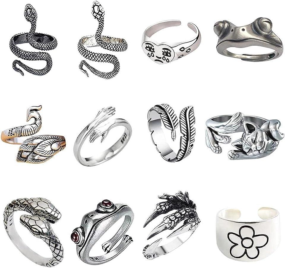 Cricia Vintage Punk Rings Set, 12 Stück Cute Animal Open Ring, versilberte gotische Stapelringe für Frauen Männer Mädchen, Hippie Frog Snake Hugging verstellbare Tier Fingerringe für Frauen
