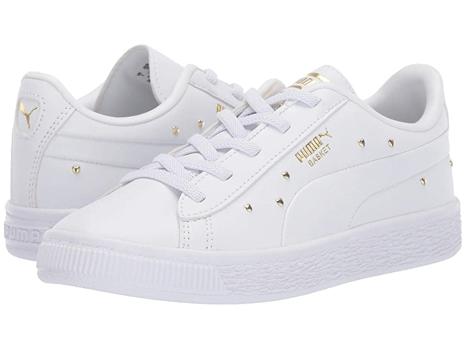 Puma Kids Basket Studs (Little Kid) (Puma White/Puma Team Gold) Girls Shoes