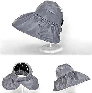 ZRL77y Sun Hats for Women Ladies Foldable Beach Hat, UV Protection Cap Ladies Sun Hat Wide Brim Visor Hat (Color : Gray)