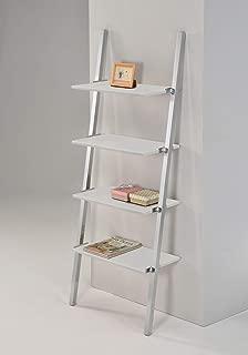 4-Tier Bookshelf Industrial Leaning Ladder Shelf Storage Rack, White Shelves with Chrome Finish Frame