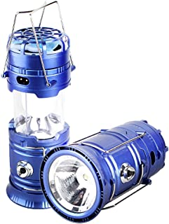 T-SUN Portable Camping Lantern Flashlight, LED Camping Lantern with Fan, 4-in-1 Collapsible Outdoor Light with USB + Solar Panel Survival Kit for Emergency, Outage, Hurricane(Blue-1 Pcs)
