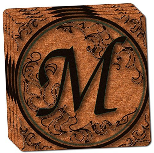 "Custom & Cool {4"" Inches} Set Pack of 4 Square ""Grip Texture"" Drink Cup Coasters Made of Cork w/ Rustic Fancy Script Font Monogram Letter M Alphabet Personal Initial Design [Colorful Brown & Tan]"
