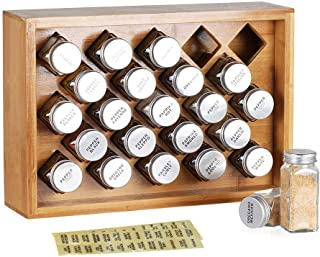 Bamboo Spice Rack Organizer Cabinets, Storage Shelf Organizer Includes 23 Glass Bottles Spice Jars, Kitchen Pantry Container