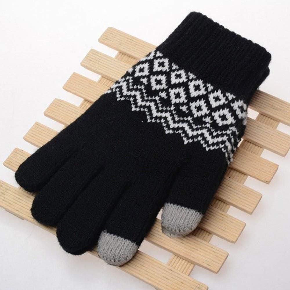 TANKKWEQ Valentine's Day Gift Winter Gloves Winter Warm Touch Screen Gloves Kitted Woolen Mittens Men Women Cashmere Geometric Crinkle Gloves (Color : Black, Size : 1)