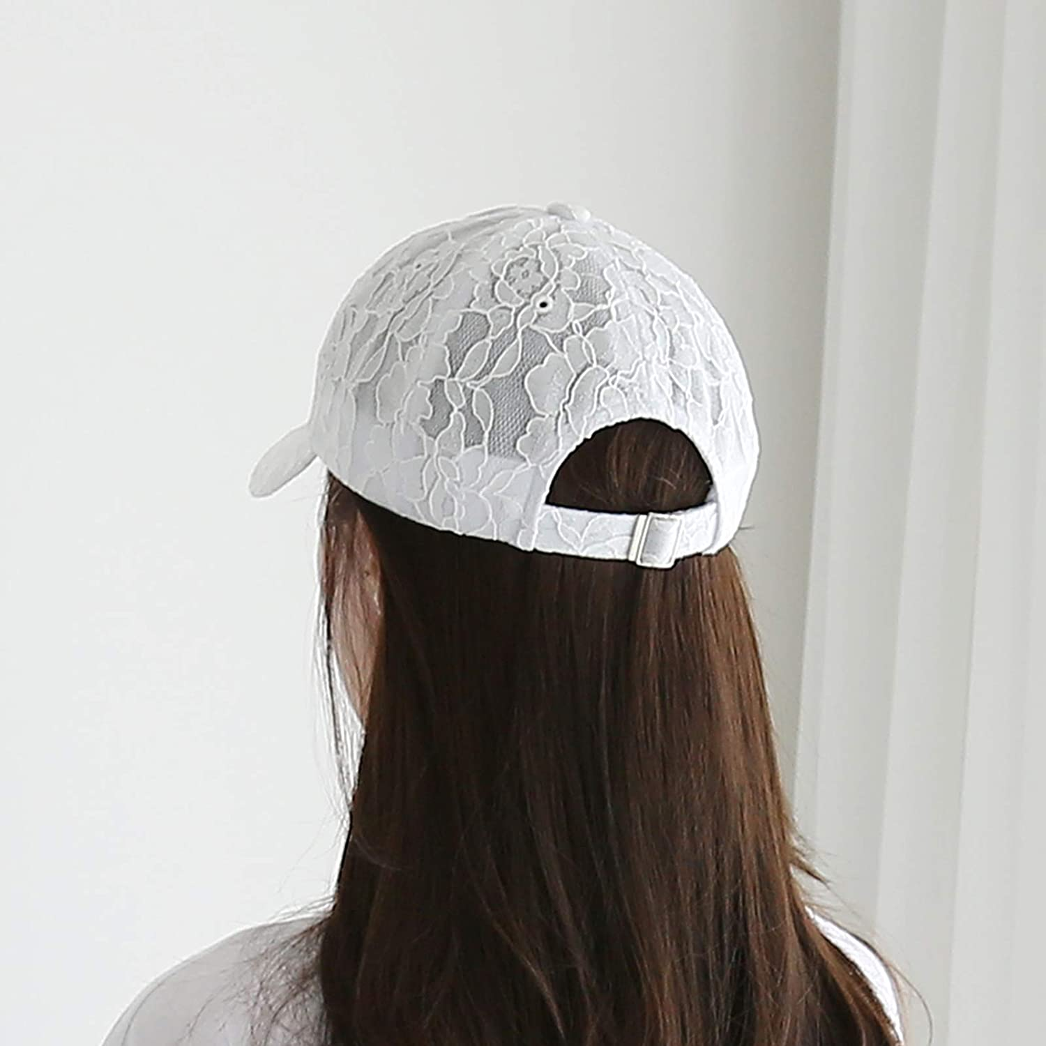 WITHMOONS Womens Floral Lace Panel Crochet Baseball Cap Embroidery Hat KR11200