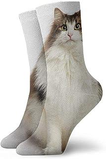 Kevin-Shop, Gato Noruego con Calcetines Tobilleros de Peso excesivo Calcetines Casuales y acogedores para Hombres, Mujeres, niños