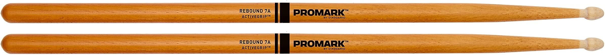 Promark ActiveGrip Rebound 7A Drumsticks, Acorn Tip, Clear (R7AAGC)