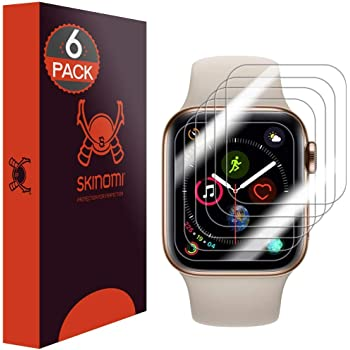Skinomi Screen Protector Compatible with Apple Watch Series 5 (44mm)(6-Pack)(EZ Installation) Clear TechSkin TPU Anti-Bubble HD Film