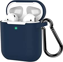 AirPods Case, Coffea Protective Silicone Cover Skin with Keychain for AirPods 2 Wireless Charging Case [Front LED Visible] (Navy)