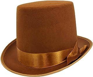 5983e314d66a5c Mens Tall Steampunk Brown Bell Caroler Hop Topper Victorian Costume Top Hat