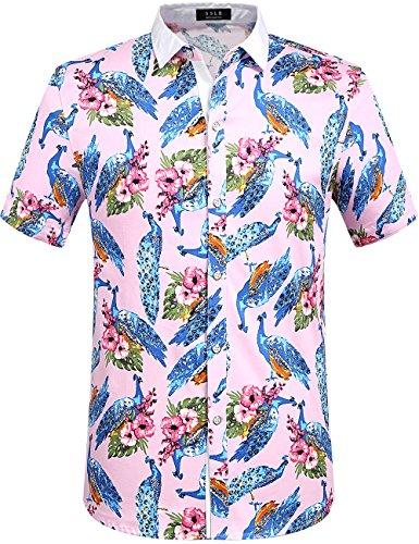 SSLR Camisa masculina casual de manga curta com botão e manga curta, rosa, Small
