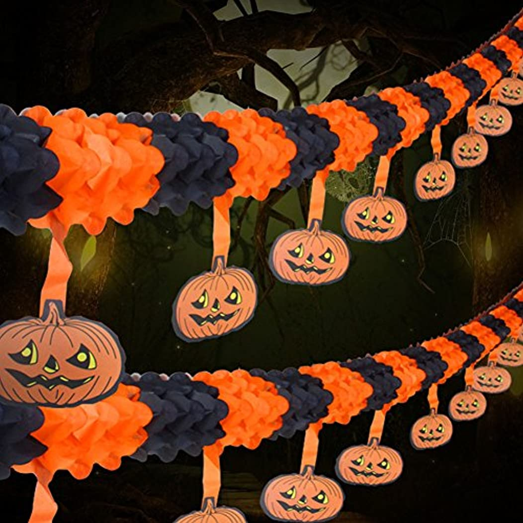 2 Pack Halloween Party Pull Flower Decoration Artfen Halloween Paper Garland Banners Pumpkin Flowers Hanging Type Home Hotel Office Party Garden Bar Decor (9.9ft each)