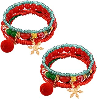 Amosfun 2pcs Christmas Bracelet Handmade Bohemian Beaded Bracelet Wrap Friendship Bracelet Strand Bangles Holiday Christmas Jewelry Gift