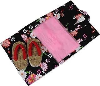 浴衣セット Kawaiina 女の子 ゆかた 黒色(紅梅織り) 3点セット KWG-13 100/110cm
