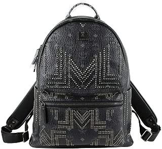 MCM Unisex Black Coated Canvas Studded Medium Backpack MMK8AVE55BK001