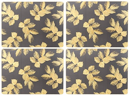 Sara Miller for Portmeirion Lot de 4 Sets de Table Motif Feuilles gravées Gris 30,5 x 23 cm