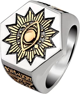 For Fox Mens Titanium Steel Masonic Illuminati Ring All Seeing Eye Freemason Past Master Mason Gold Tone Size 7-12