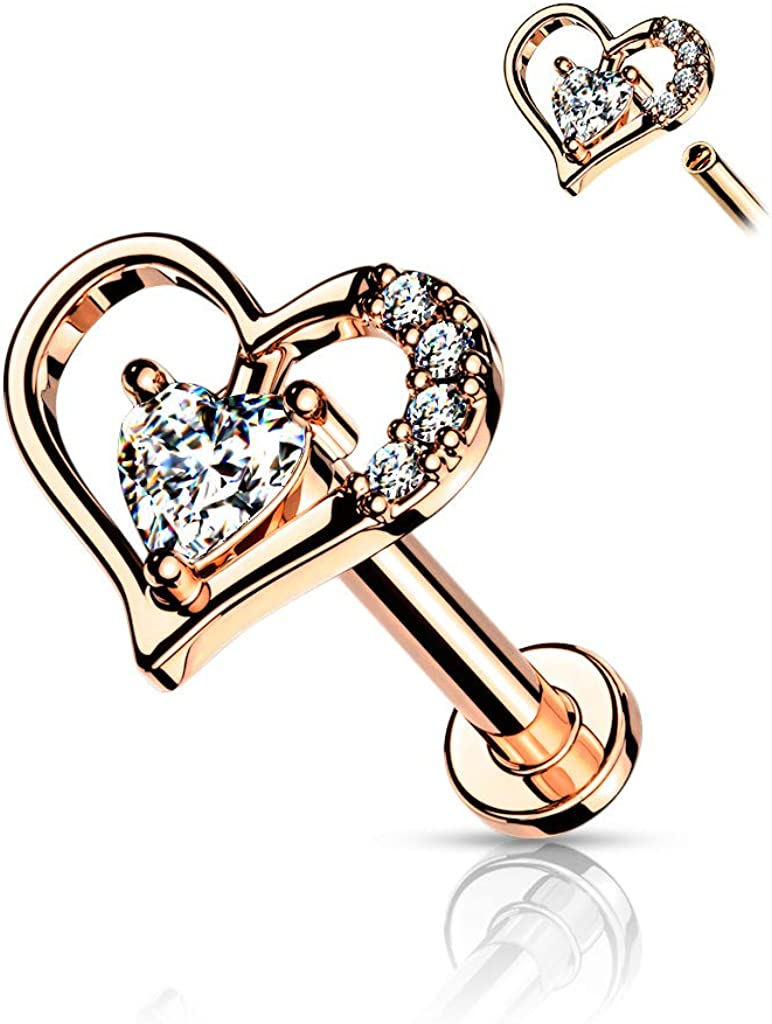 Amelia Fashion 16GA Paved Heart Contour Heart CZ Solitaire Internally Threaded 316L Surgical Steel Flat Back Studs for Labret, Monroe, Cartilage and More