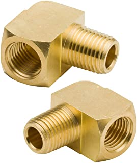 "Legines 90 Degree Street Elbow Brass 1/2"" NPTF Male x 1/2"" NPTF Female Barstock Pipe Fitting (Pack of 2)"
