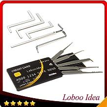 Loboo Idea Herramientas de cerrajería de 10 piezas Incluye juego de herramientas de llave de tensión de 5 piezas con kit de herramientas de selección de bloqueo de tarjeta de crédito