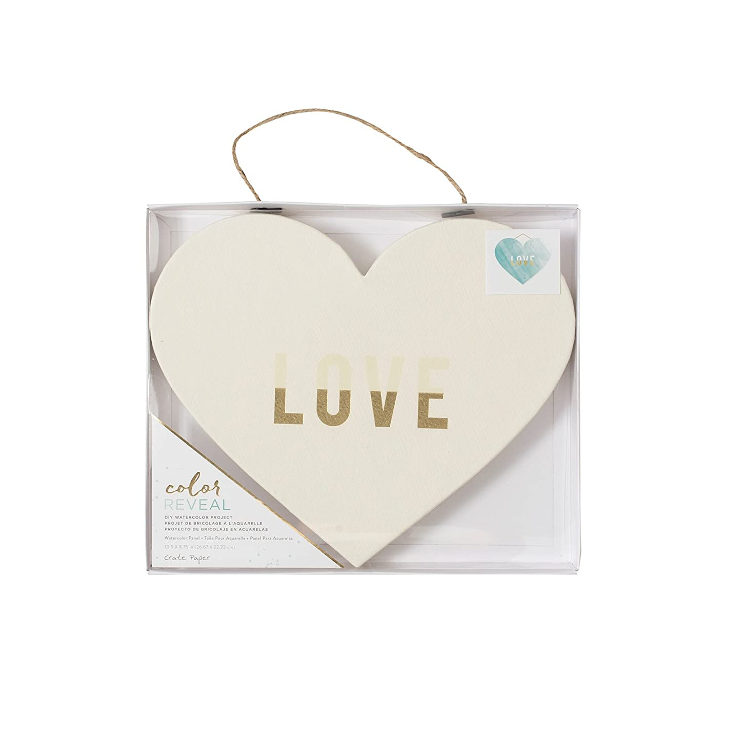 American Crafts Crate Paper Watercolor Heart Panel Color Reveal 10 x 9 Inch Love