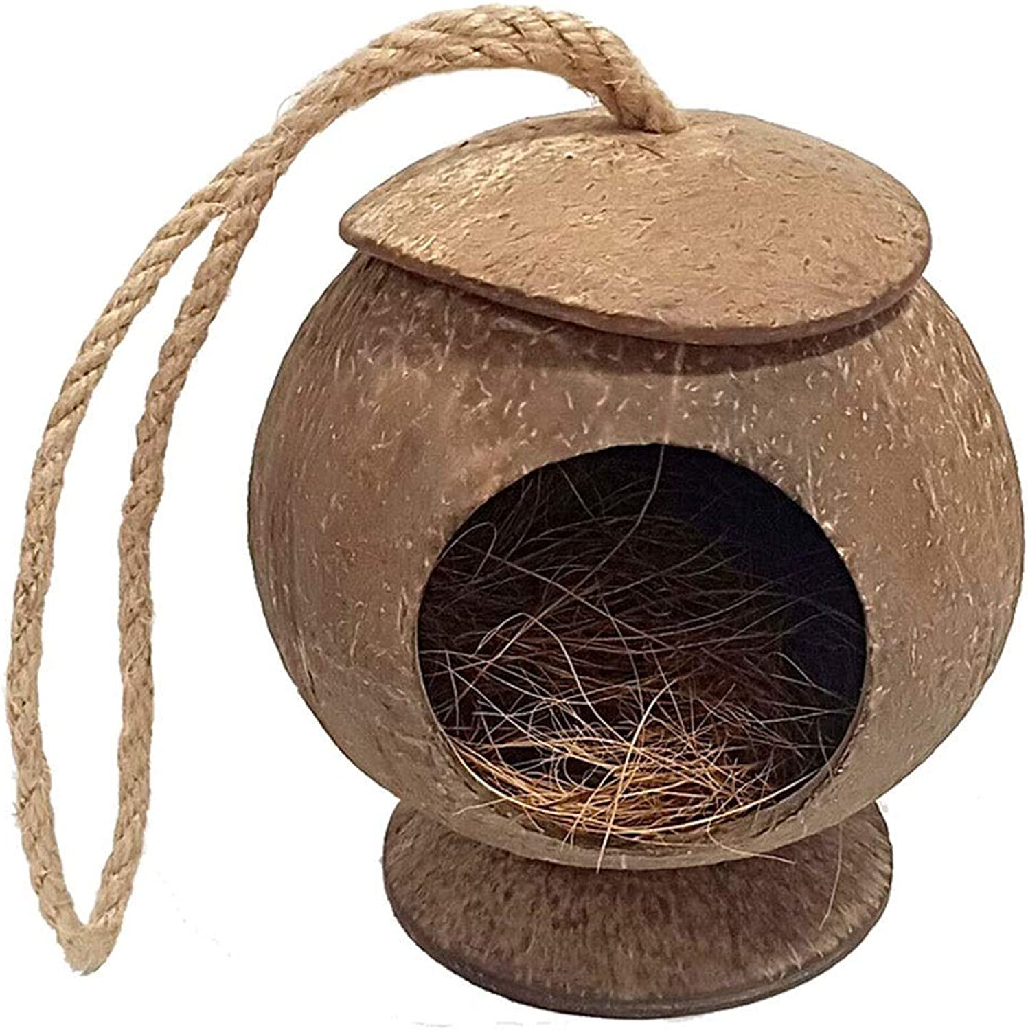 Bird Cage Natural Coconut Shell Bird Outdoor Landscaping Ornament Bird Nest 5 Styles Can Choose Round Bird Cage Birdcage (Size   C)