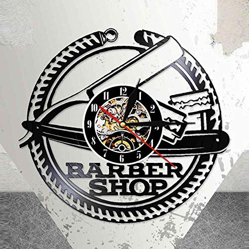 BFMBCHDJ Kreative Friseur Kunst Kunst Vintage Design beleuchtet Vinyl Wanduhr Haarschnitt Rasierer Frisur LED Wandleuchte Nachttisch Nachttisch Keine LED 12 Zoll