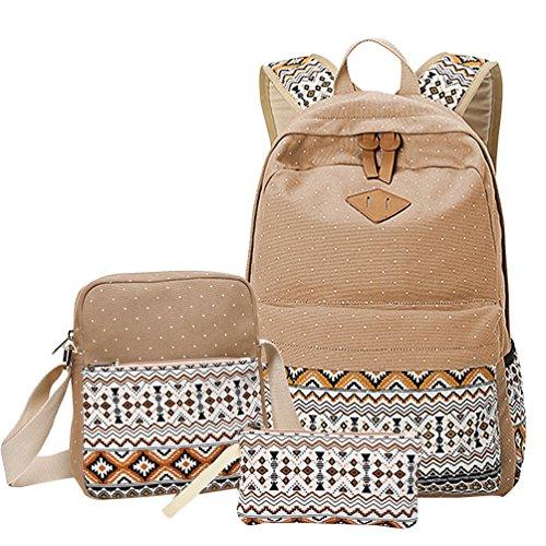 MingTai Backpack Mochilas Escolares Mujer Mochila Escolar Lona Bolsa Casual Para Chicas Bolsa De Hombro Mensajero Billetera Caqui