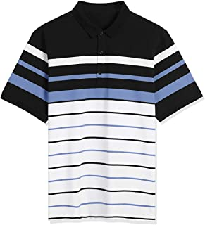 Lars Amadeus Men's Casual Striped Polo Golf Short Sleeves Color Block T Shirt