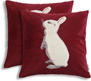 EverGrace Luxury Velvet Throw Pillow Covers for Sofa Couch Bed Home Decor, 2 Pack 18x18 inches High-end Embroidery Soft Rabbit Easter Bunny Decorative Pillow Covers