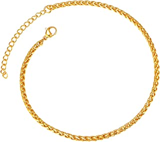 MoAndy Jewelry 18K Gold Plated Womens Fashion Charm Bracelet Flower Link Wristband 22CM Length Golden